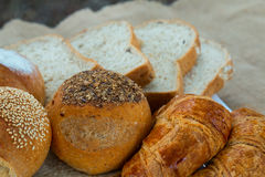 Bread, loaf bread and Croissant are ready for breakfast Stock Photos