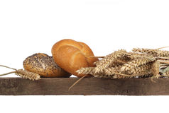 Bread loaf and buns on a shelf Stock Images