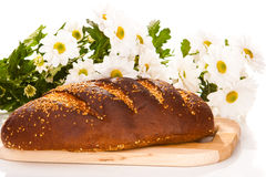 Bread loaf with flowers Stock Photos