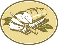 Bread Loaf With Knife and Board Woodcut. Illustration of loaf of bread sliced on chopping board with knife and leaves done in retro woodcut style Stock Photography