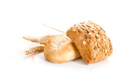 Bread loaf with pumpkin seeds and wheat. Stock Image