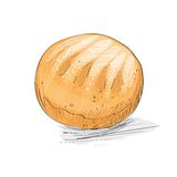 Bread loaf sketch draw isolated over white Royalty Free Stock Photography
