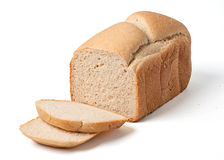 Bread loaf with slices isolated on white Stock Image