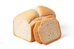 Bread loaf with slices isolated on white Royalty Free Stock Photography