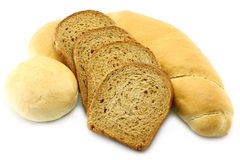 Bread and loafs close-up. On a white background stock image