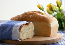 Bread loaves. Fresh wholesome breads in buffet style display royalty free stock image