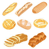 Bread loaves and bagels. Set of bread loaves and bagels Stock Photos