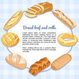 Bread and loaves forming a frame. With space for text royalty free illustration