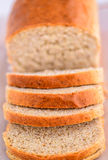 Bread loaves. Freshly baked bread cut into loaves.Loaf of bread royalty free stock photo