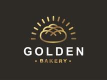 Bread logo - vector illustration. Bakery emblem on black background Stock Photos