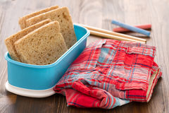 Bread in lunchbox Royalty Free Stock Photos