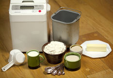 Bread machine making fresh bread at home. Royalty Free Stock Photography