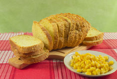 Bread made from corn. Whole grains are in a bowl Royalty Free Stock Image