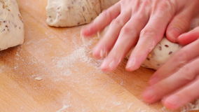 Bread making - kneading dough stock video