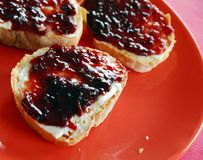 Bread with marmalade Royalty Free Stock Images