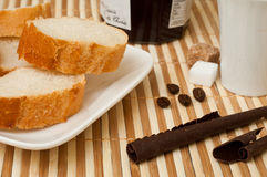 Bread and   marmelade , chocolate and coffee closeup Stock Image