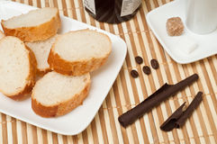 Bread and   marmelade , chocolate and coffee closeup Stock Photography