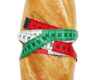 Bread and measure tape Stock Photos