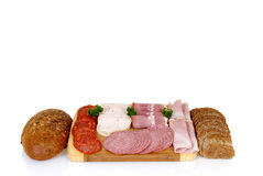 Bread meat on cutting board Stock Photos