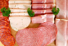 Bread meat on cutting board Royalty Free Stock Images