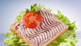 Bread with meat pate and fresh tomatoes Royalty Free Stock Images
