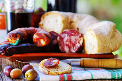Bread, meat and portuguese wine Stock Photography