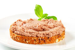 Bread with meat spread Royalty Free Stock Photos