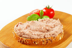 Bread with meat spread Royalty Free Stock Photography