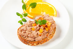 Bread with meat spread Stock Photos