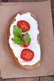 Bread with mild cream cheese, tomato and cucumber Royalty Free Stock Photography
