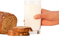 Bread with milk. Arranged on table close up Stock Photography