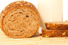 Bread with milk. Bread arranged on table close up Royalty Free Stock Image