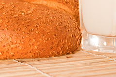 Bread with milk. Arranged on table close up Stock Photos