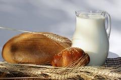 Bread and milk Stock Image