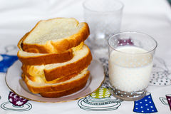Bread and milk. Sliced bread and a glass of milk Royalty Free Stock Photo