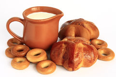 Bread and milk Royalty Free Stock Photography