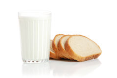 Bread and milk Stock Images