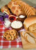 Bread, Milk And Berry. Still life with bread and pastry stock photo