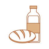 Bread and milk bottle Stock Photography