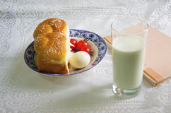 Bread and milk breakfast eggs tomatoes Stock Images