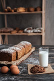 Bread with milk and cookie near eggs Stock Images