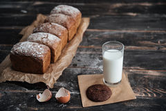 Bread with milk and cookie near eggs Stock Photo