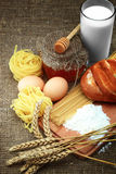 Bread, milk and eggs. Ingredients for making cakes for sacking Royalty Free Stock Photography