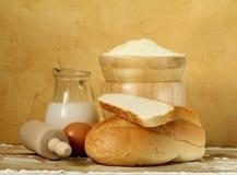 bread, milk, flour, eggs Stock Photos