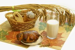Bread and a milk glass Royalty Free Stock Photo