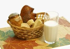Bread and a milk glass Royalty Free Stock Photography