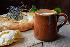 Bread and milk. Hot bread & fresh milk Royalty Free Stock Photography