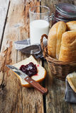 Bread, milk and jam Stock Image