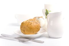 Bread, milk and mozzarella Stock Photography