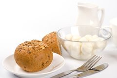Bread, milk and mozzarella Royalty Free Stock Image